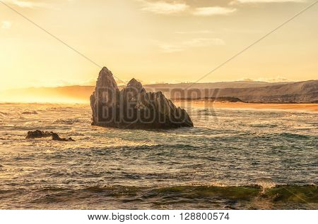 A sunset view of a beach at Buffelskop near Knysna on the Garden Route of South Africa