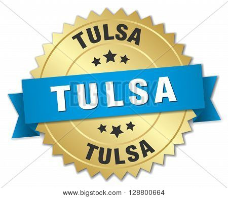 Tulsa round golden badge with blue ribbon