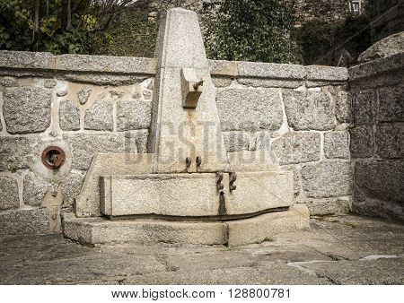 ancient stone made water fountain - Linhares da Beira, Guarda, Portugal