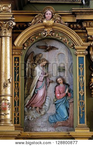 ZAGREB, CROATIA - SEPTEMBER 14: Annunciation of the Virgin Mary, altarpiece in the Basilica of the Sacred Heart of Jesus in Zagreb, Croatia on September 14, 2015
