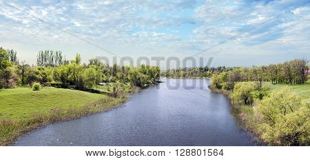 Panoramic landscape of water in the city of Krivoy Rog in Ukraine