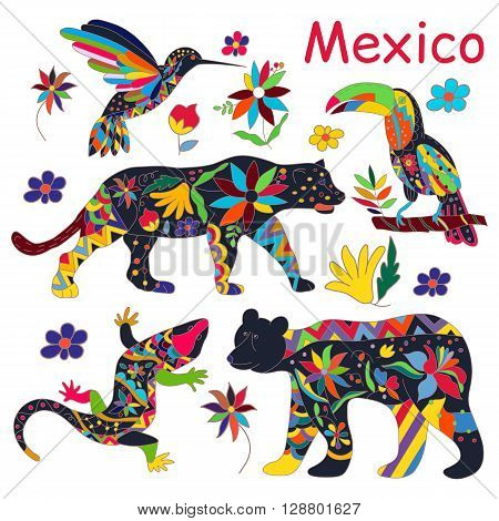 A set of isolated vector images of Mexican animals. The black bear jaguar toucan lizards hummingbirds. Traditional Mexican animals in colorful colors and flowers. Vector illustration.
