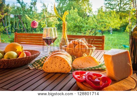 Picnic in the garden, cottage still life.