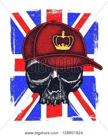 Skull and Flag Great Britain. vector illustration