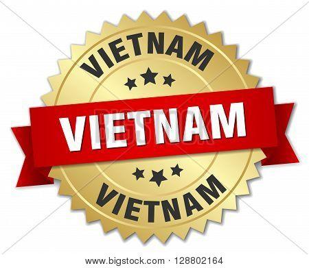 Vietnam round golden badge with red ribbon