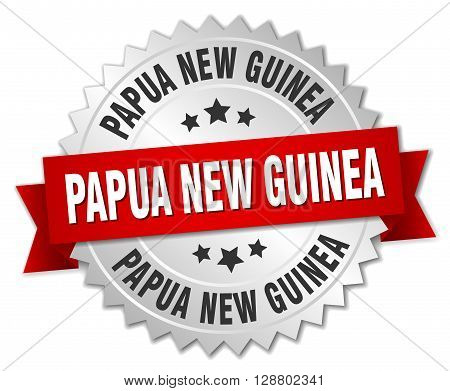 Papua New Guinea round silver badge with red ribbon