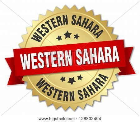 Western Sahara round golden badge with red ribbon
