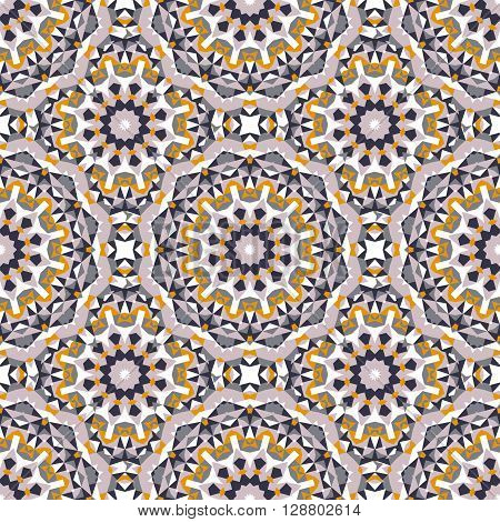 Vector ethnic colorful bohemian pattern in bright colors with big abstract flowers. Geometric background with Arabic, Indian, Moroccan, Aztec motifs. Bold print with stars, mandalas, triangle, polygon
