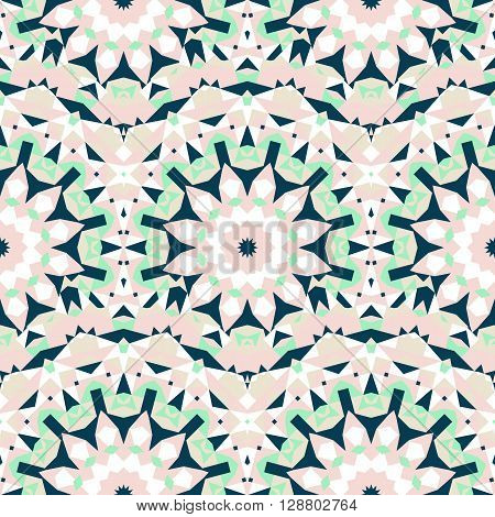 Vector ethnic colorful bohemian pattern in chic colors with abstract flowers. Geometric background with Scandinavian, Nordic, Russian, Slavic motif. Bold print with stars, mandalas, triangle, polygon