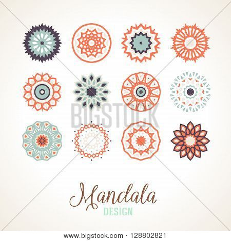 Set of 12 vector mandalas. Bright and colorful snowflakes for Christmas decor. Winter unique bold and simple elements. Various round ornaments of small size for logo and icon design.
