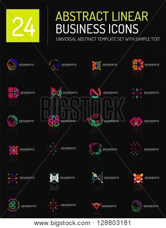 Abstract geometric business logo icon set. Linear design, thin line flat logotypes - swirls circles triangles and squares