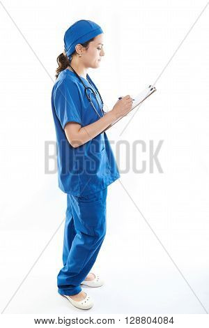 Nurse Write On Paper Clip