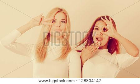 Two Crazy Girls Playing Around Together.