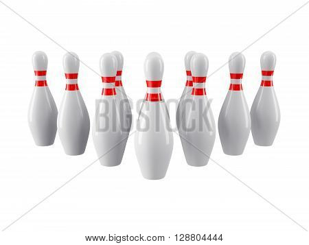 Group of Bowling Pins Isolated on gray background without shadow. 3D rendering. For logo, advertising, wallpaper, print etc. Front view with perspective