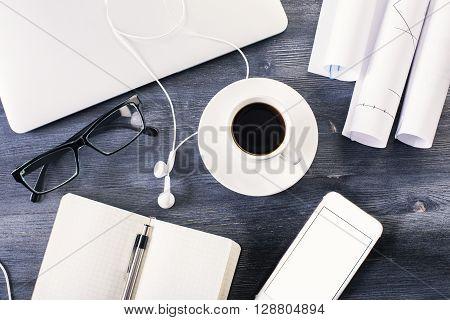 Dark Wooden Desk With Items