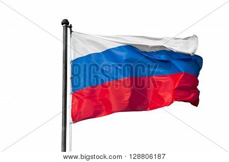 The flag of Russia developing in the wind on a flagpole on white background