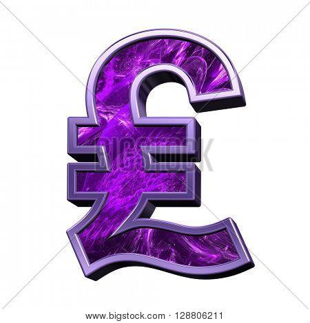 Pound sign case letter from purple fractal alphabet set isolated over white. 3D illustration.