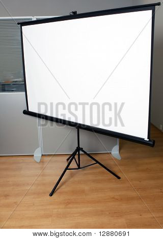 Projection screen in the boardroom