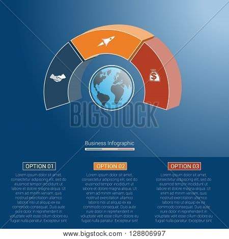 Template infographics business concept coloured parts semicircle and globe numbered for three positions options parts or processes. 3D vector illustration.