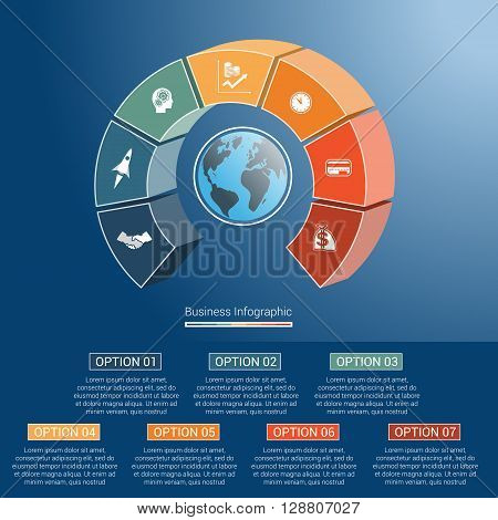 Template infographics business concept coloured parts semicircle and globe numbered for seven positions options parts or processes. 3D vector illustration.