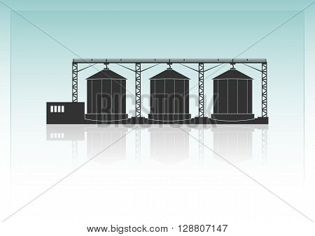 Granaries. Isolated on background. Vector illustration. Opacity
