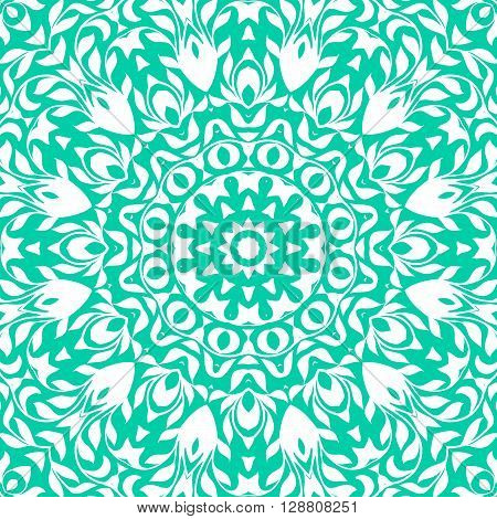 Vector illustration of big detailed snowflake. Winter background for Christmas card. Concept design of round ornamental mandala for yoga studio, Indian, Arabic or Thai cuisine restaurant, tattoo salon