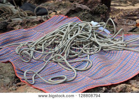 closeup of rock climbing rope gears outdoor