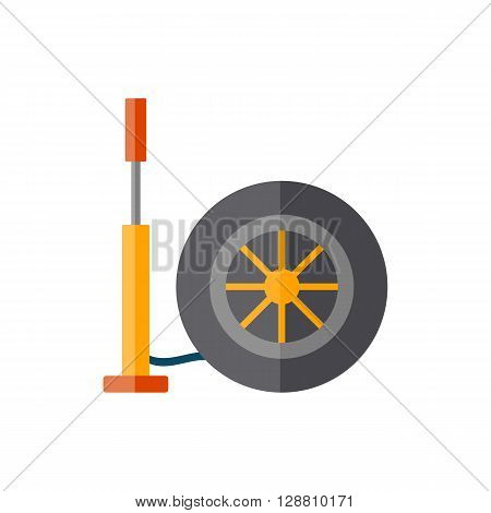 Vector illustration with cartoon flat hand pump and car wheel. Car repair service concept. Icon or logo car concept. Equipment for repair. Vector isolated hand pump and wheel on white background