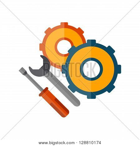Vector illustration with cartoon flat screwdriver wrench cogwheel. Logo icon emblem or background vector concept. Repair service background. Isolated tools. Vector logo for repair service