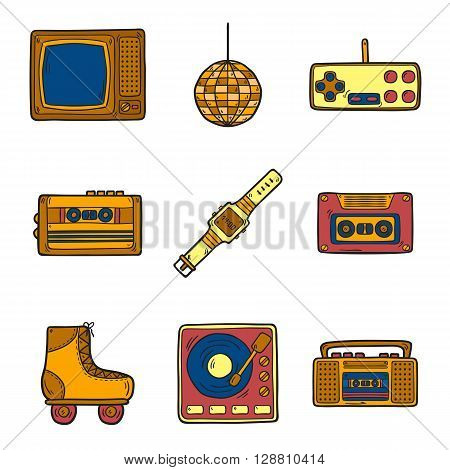 Illustration with cartoon hand drawn objects on retro 80s theme