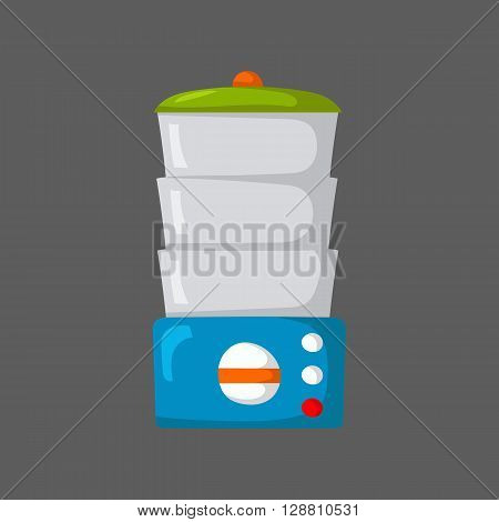 Isolated cartoon kitchen steamer on white background. Kitchen home appliances. Healthy food concept. Vitamins preservation in kitchen steamer. Vector kitchen appliances for healthy food. Steamer