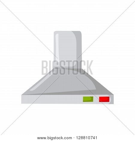 Vector cartoon illustration with kitchen extractor hood. Indoor kitchen appliance. Cartoon isolated kitchen extractor hood on white background. Indoor house appliance. Kitchen cartoon design