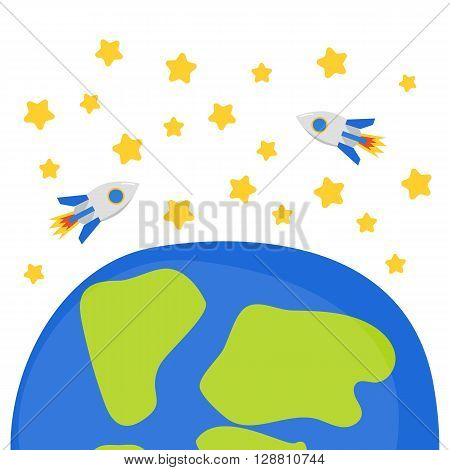 Vector illustration with cartoon rockets on earth orbit stars. Star space mission concept. Great for cover children book. Flight to Moon and Mars mission. Spaceship technology. Cartoon earth rockets