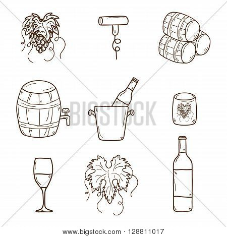 Set of cartoon wine icons in hand drawn style: bottle glass barrel grapes corkscrew. Vineyard or restaurnt concept for your design