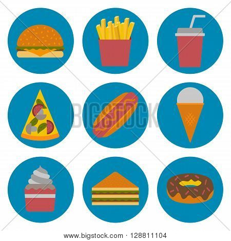 Vector american fast food concept with cartoon flat objects: fried potato hot dog soda hamburger sandwich for your design. American cuisine concept. Junk unhealthy food. Vector fast food icons