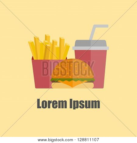 American food or meals concept. Fast food cafe or restaurant. Flat objects: burger french fries soda. Junk unhealthy food. Obesity concept for flat infographics. American cuisine background