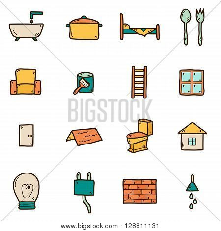 Set of hand drawn icons on home remodeling theme: door wall paint brush light window ladder. House improvement concept for your design