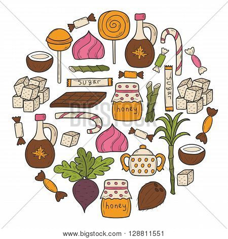 Background on sugar type theme with hand drawn cartoon objects