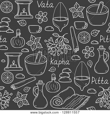 Seamless ayurveda background in hand drawn style: herbs stones oil spices aromatherapy towel. Auyrveda healthcare and treatment concept for your design. The doshas: Vata Pitta Kapha
