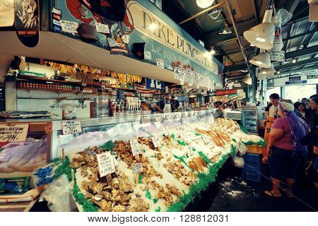SEATTLE, WA - AUG 14: Farmer's Market interior on August 14, 2015 in Seattle. Seattle is the largest city in both the State of Washington and the Pacific Northwest region of North America