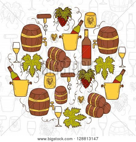 Vineyard or restaurnt concept with cartoon wine objects in hand drawn style: bottle glass barrel grapes for your design