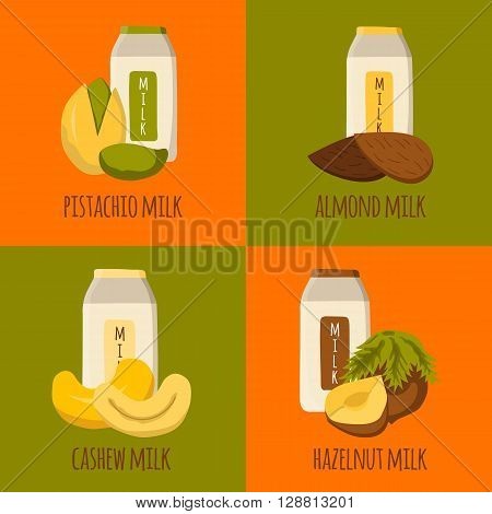 Vector cartoon illustration with nuts milk: almond milk pistachio milk cashew milk hazelnut milk. Lactose free diary products. Vegan source of protein and calcium. Vegan menu. Alternative for milk