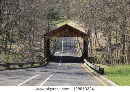 A covered bridge on the Pierce Stocking Scenic Drive, Sleeping Bear Dunes National Lakeshore, Michigan