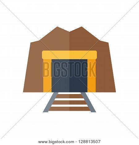 Vector Cartoon Flat Tunnel And Railway