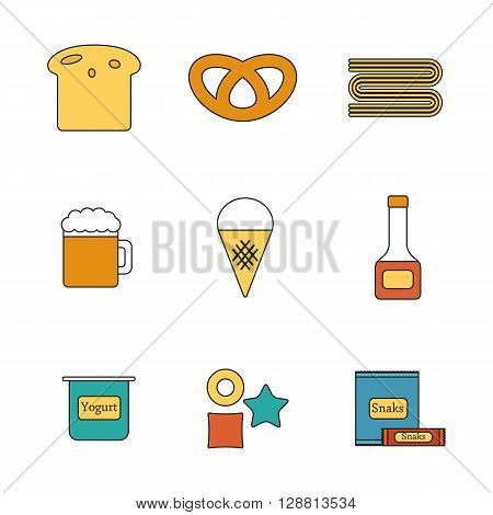 Vector illustration with line flat objects with food containing gluten. Healthy diet food gluten free or intolerance concept. Vector icons: bread beer pasta sweets
