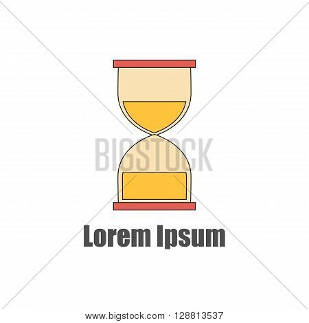 Vector illustration with flat line hourglass. Time concept. Isolated vector hourglass om white background. Great for logo icon in business deadline design. Time measuring instrument