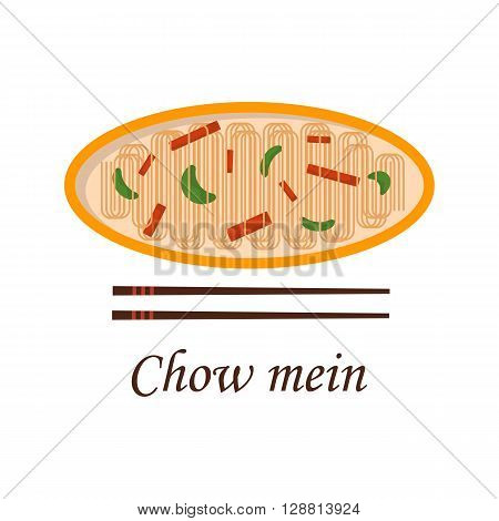 Vector illustration with cartoon traditional chinese meal chow mein. Noodles vegetables chopsticks. Chinese cuisine concept. Great for restaurant cafe asia cuisine menu design. Popular food