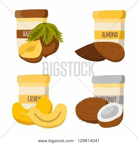 Vector illustration with cartoon nut butter: almond peanut cashew coconut. Fresh healthy snack breakfast lunch. Vector jars with nuts butter. Vegetarian vegan protein oily high caloric food