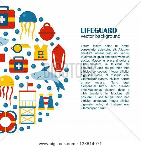 Vector flat cartoon lifeguard beach objects: buoy shark medusa lifebuoy life vest whistle. Cartoon vector lifeguard icons. Emergence survival security beach nautical objects. Summer background