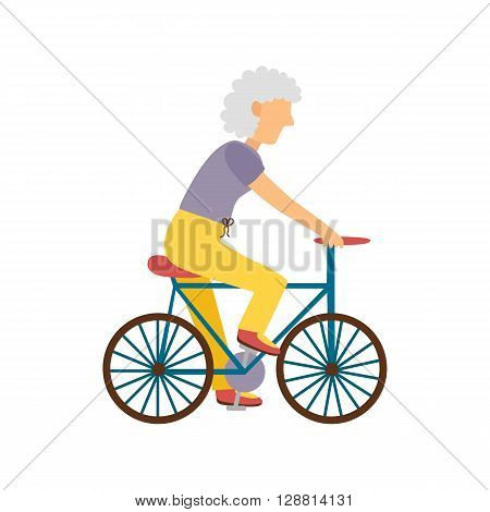 Vector illustration with cartoon flat old woman on bicycle. Vector old people activity concept. Active pensioner. Healthy sport lifestyle. Cartoon character old woman and bicycle. Sport for old people